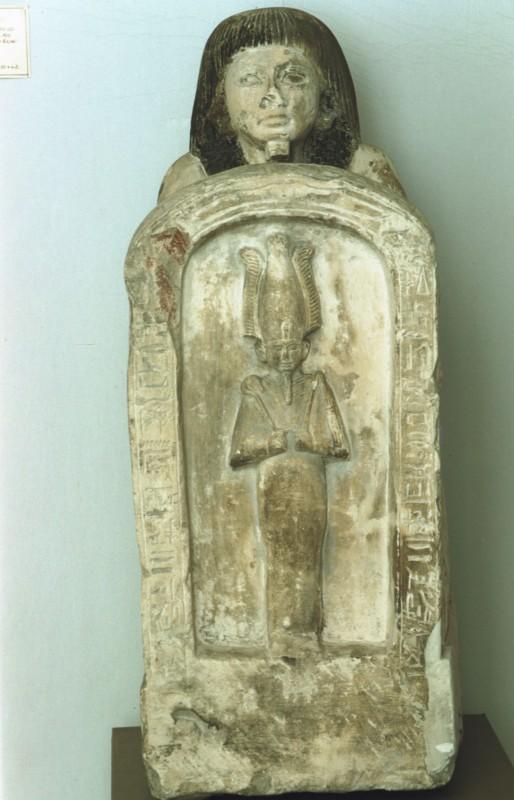 Statue des Setan, Vizekönig von Nubien, eine Osiriskapelle vor sich haltend, Kalkstein 19. Dyn.
