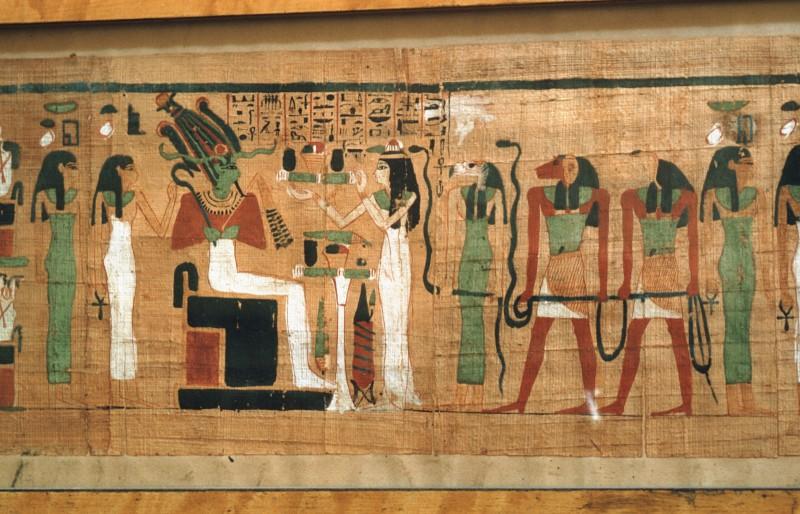 Die Verstorbene vor Osiris, Isis und Nephtys, hinter ihr Dämonen, re. von 32 805