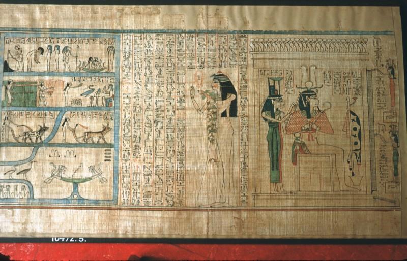Teil der larugefllde, und Osiris als Totenrichter mit Isis und Nephtys (Blatt 5)