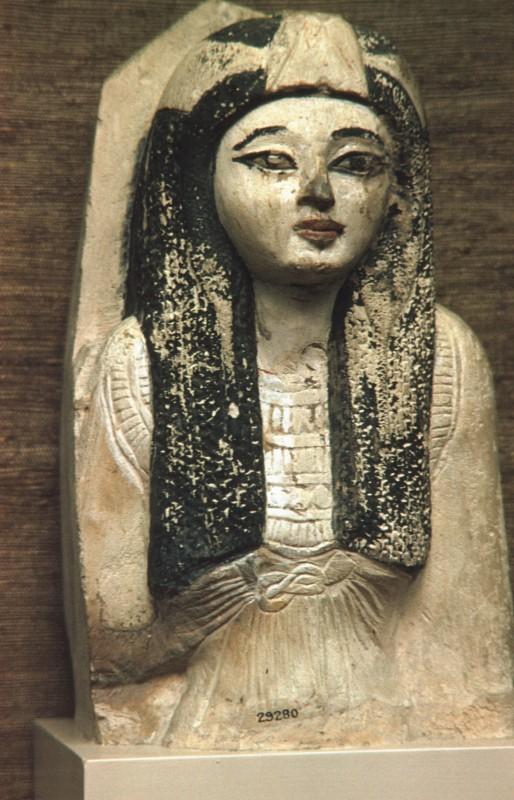 Oberteil der Statue einer Edeldame, Kalkstein bemalt, H. 36 cm,19.Dyn.