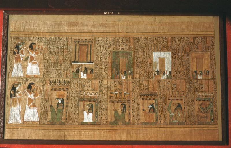 Ani und seine Frau vor den Arit- und Osiristoren, welche von Dämonen bewacht werden (Blatt 11)