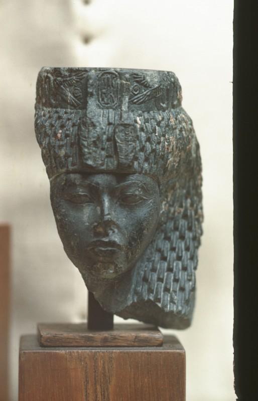 Kopf der Königin Teje, Schist, H. 9 cm, Sinai, Vorderansicht