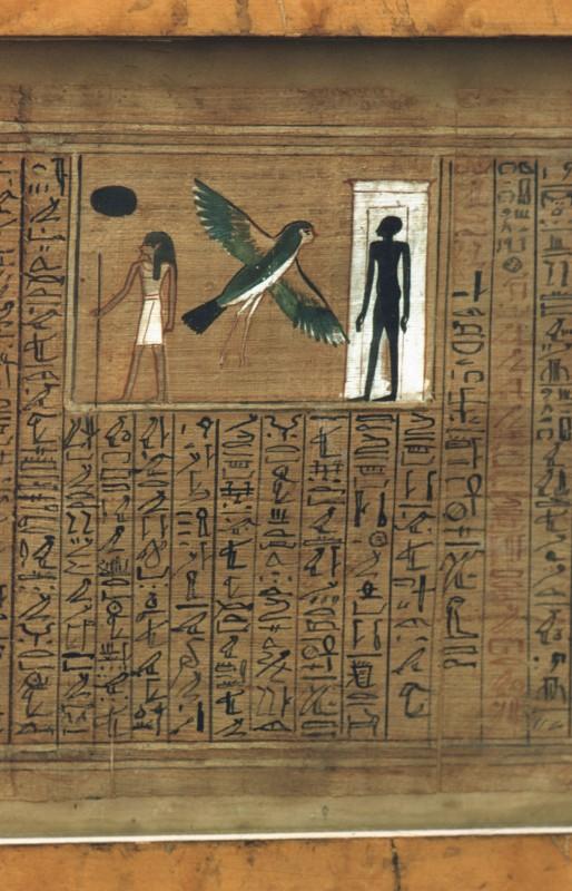Der Verstorbene, seine vogelgestaltige Seele, und sein Schatten im Grab