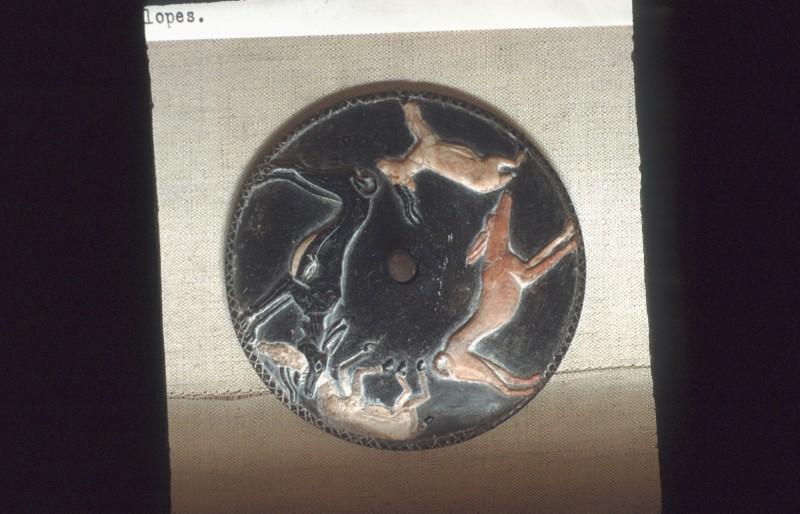 Spielscheibchen mit Antilopen und Hunden, Speckstein, Durchm. ca. 10 cm, 2. Dyn., Hemakagrab